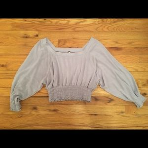 Free People Lavender Cropped Top Blouse Shirt